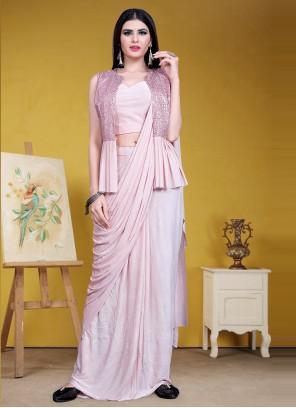 Pink Lycra Designer Saree