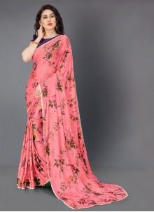 Pink Lycra Party Classic Saree