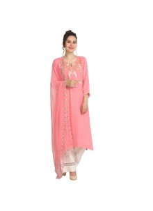 Pink Machine Embroidery  Viscose Party Wear Kurti