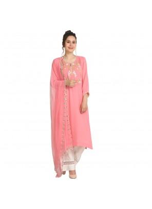 Pink Machine Embroidery  Viscose Party Wear Kurti