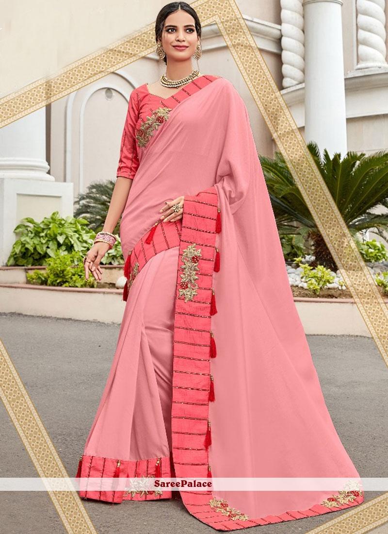 Pink Mehndi Art Silk Designer Saree