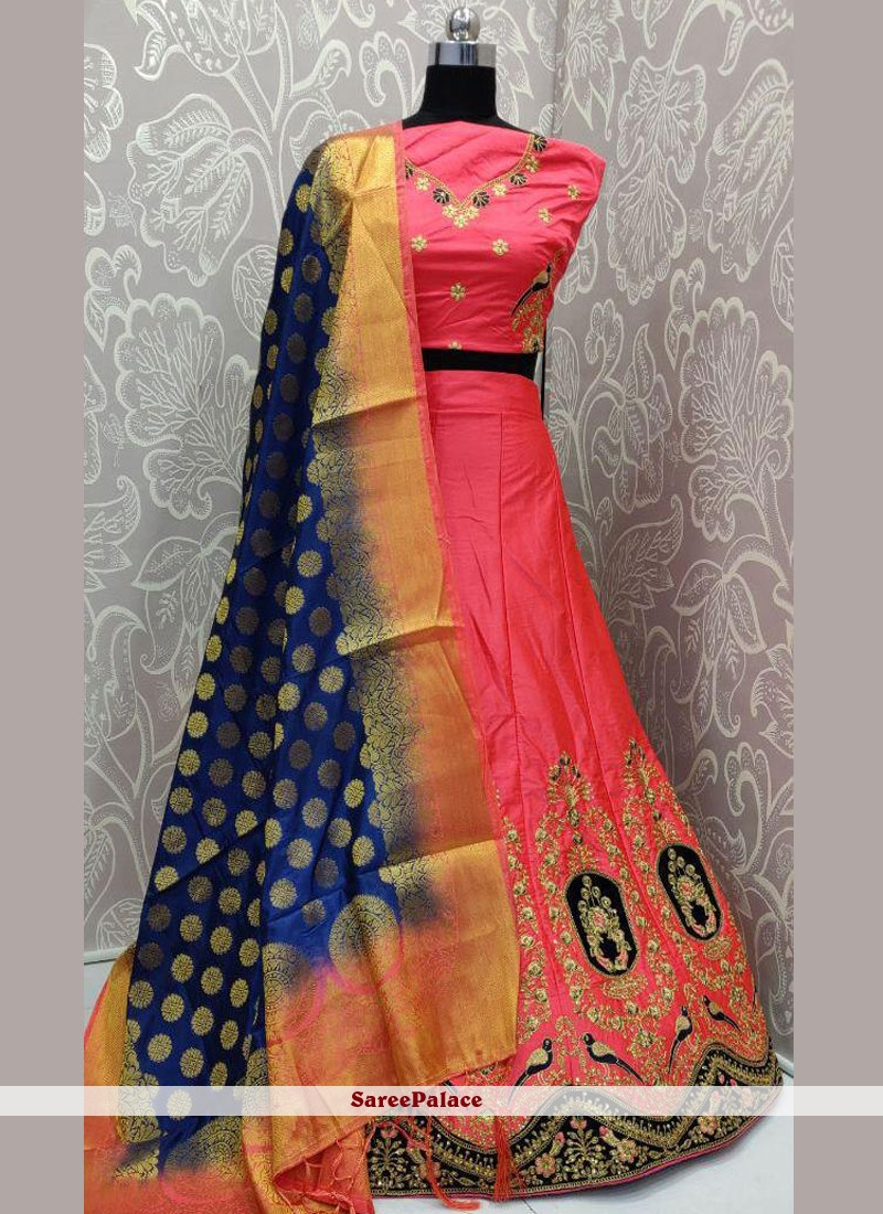 Pink Mehndi Art Silk Lehenga Choli