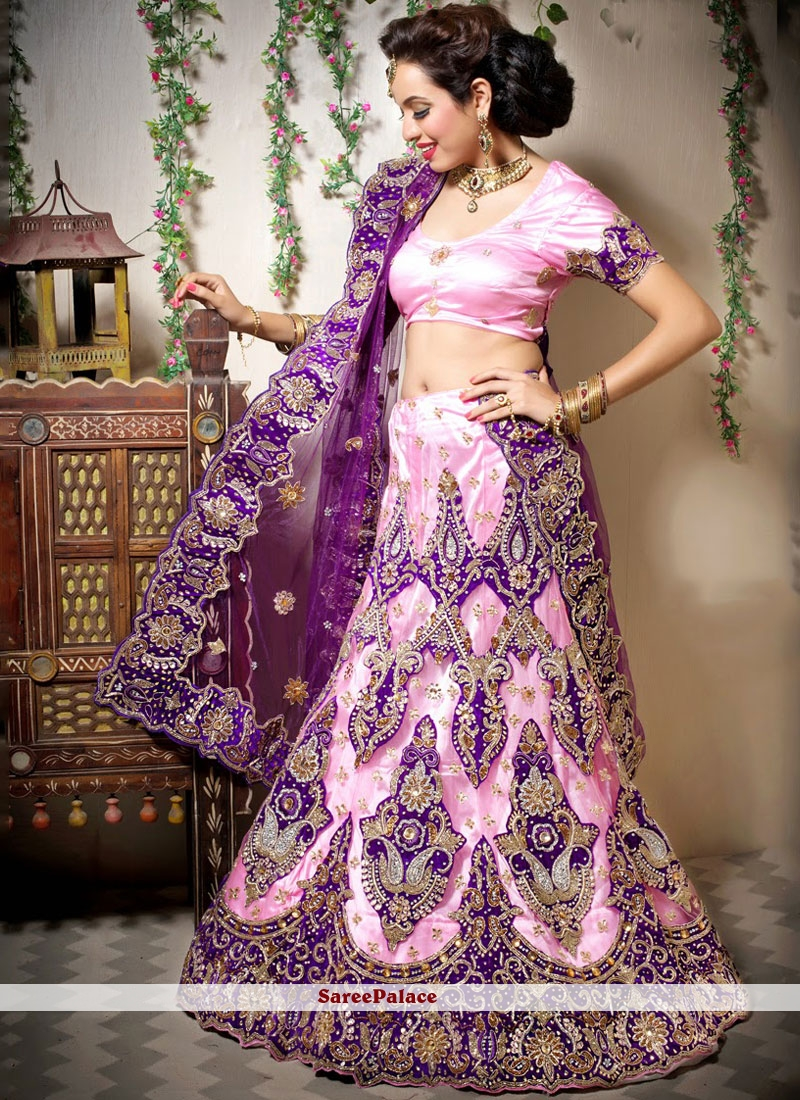 Pink Mehndi Designer Lehenga Choli