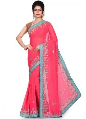 Pink Mehndi Georgette Designer Saree