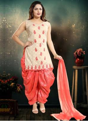 Pink Mehndi Punjabi Suit