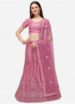 Pink Net A Line Lehenga Choli