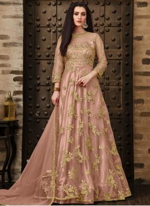 Pink Net Anarkali Salwar Suit
