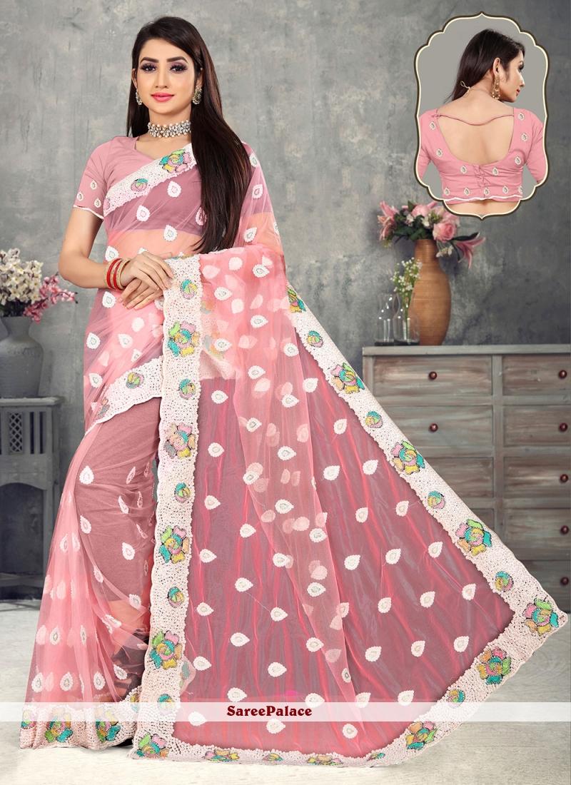 Pink Net Beads Designer Saree