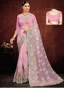 Pink Net Classic Saree