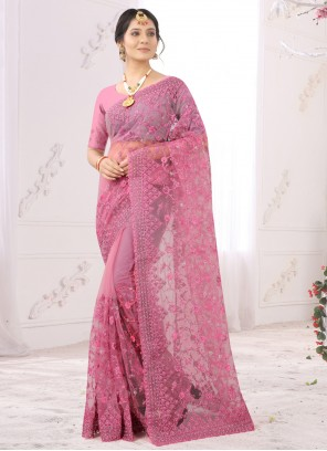 Pink Net Embroidered Designer Saree