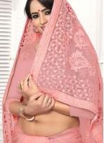Pink Net Embroidered Classic Designer Saree