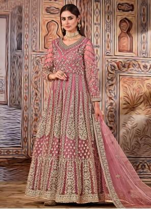 Pink Net Mehndi Floor Length Designer Suit
