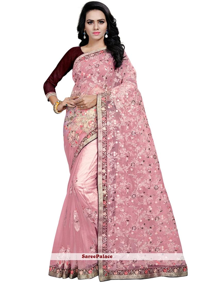 Pink Net Party Classic Designer Saree