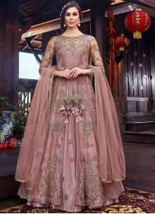 Pink Net Reception Floor Length Anarkali Suit