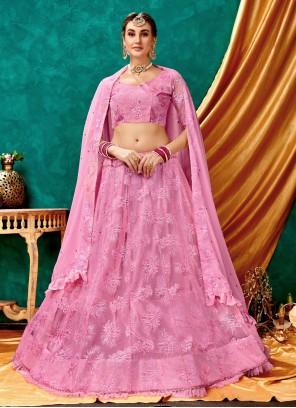 Pink Net Reception Trendy Long Choli Lehenga