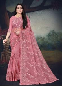 Pink Net Resham Classic Designer Saree