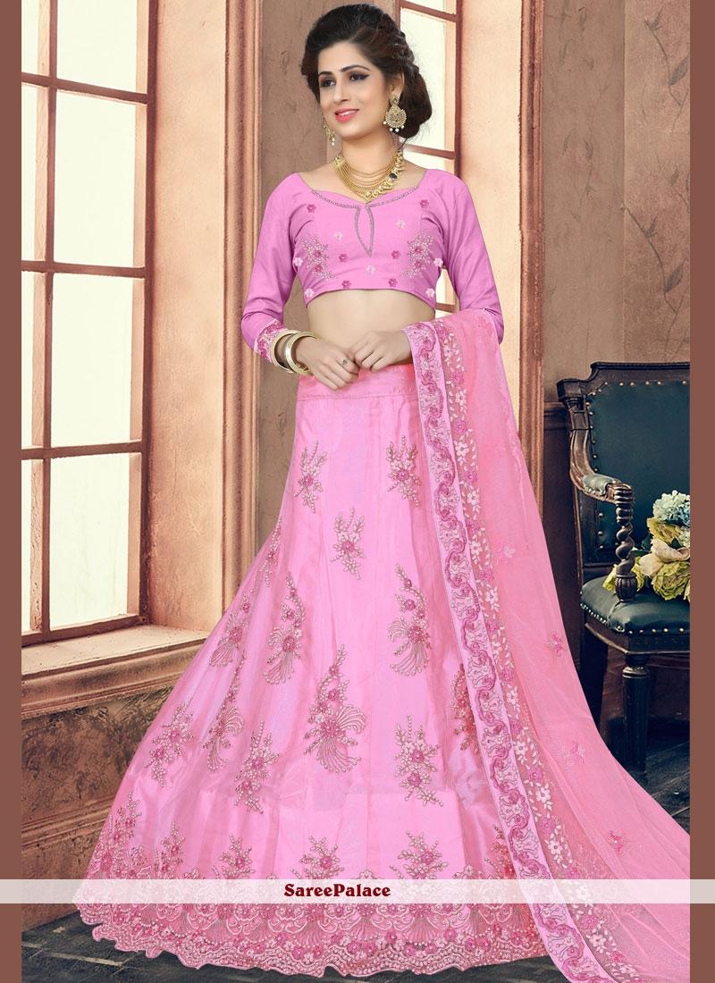 Pink Net Stone Work Trendy Lehenga Choli