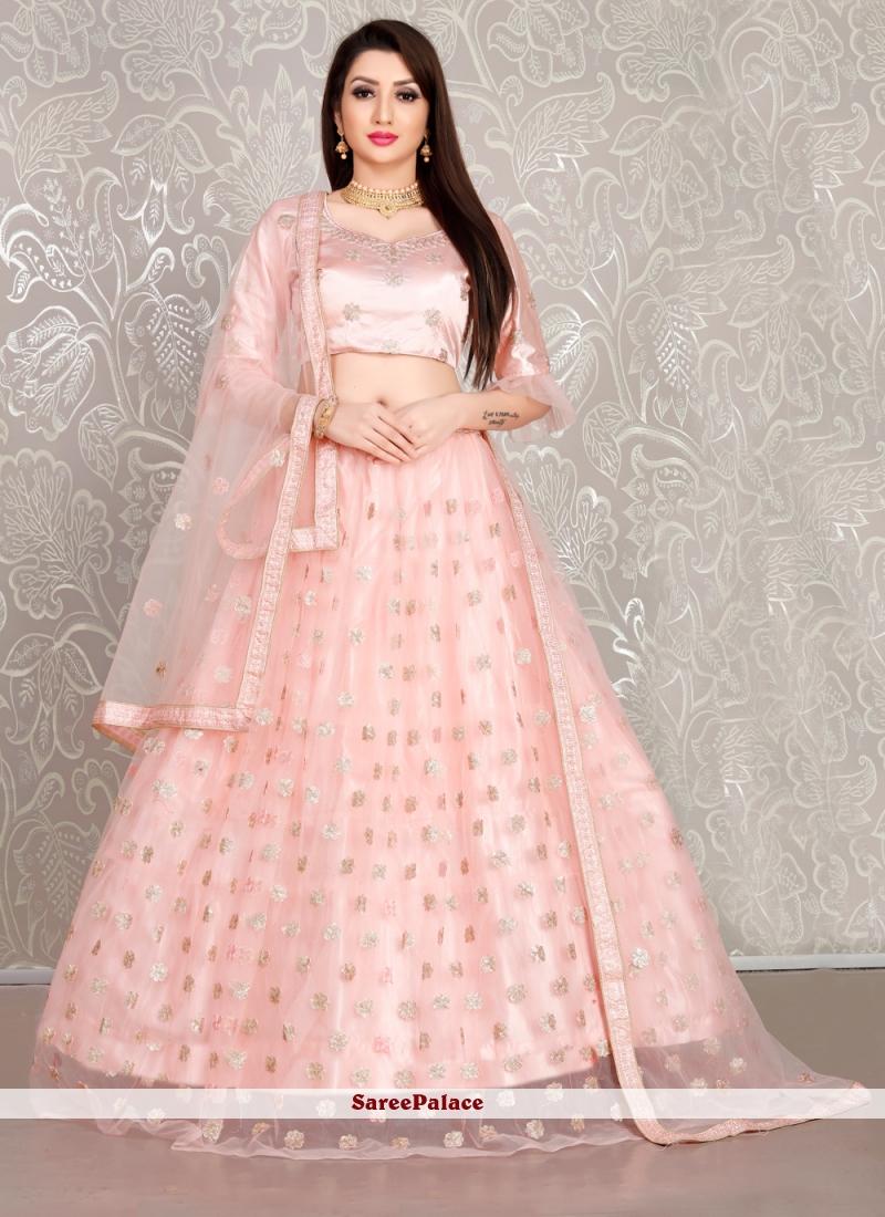 Pink Net Wedding Designer Lehenga Choli