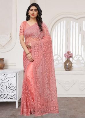 Pink Net Wedding Designer Saree