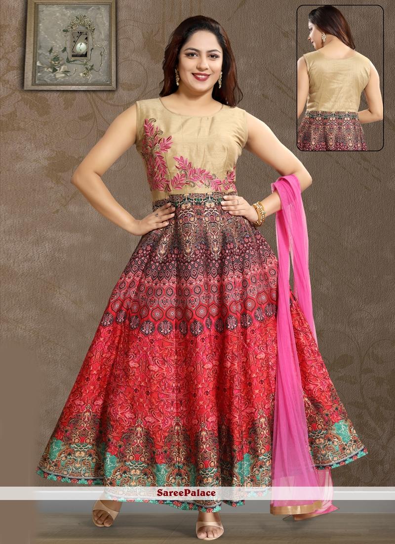 Pink Party Art Silk Salwar Kameez