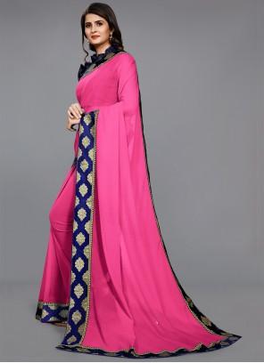 Pink Party Faux Chiffon Classic Saree
