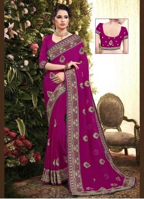 Pink Party Georgette Designer Saree