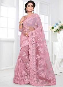Pink Party Net Designer Saree