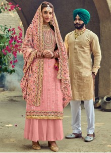 Pink Embroidered Party Palazzo Suit