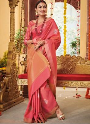 Pink Party Silk Bollywood Saree