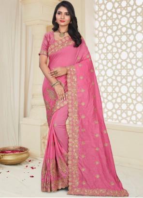 Pink Patch Border Art Silk Traditional Designer Saree
