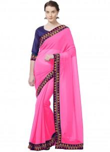 Pink Patch Border Casual Saree