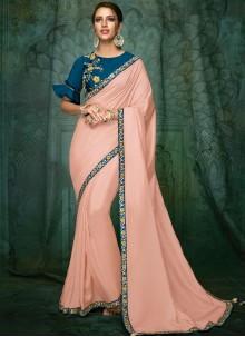 Pink Patch Border Designer Traditional Saree