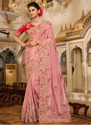 Pink Patch Border Fancy Fabric Designer Traditional Saree