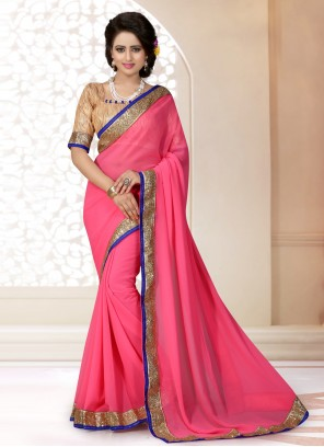 Pink Patch Border Faux Georgette Trendy Saree
