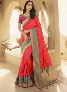 Pink Patch Border Festival Designer Traditional Saree