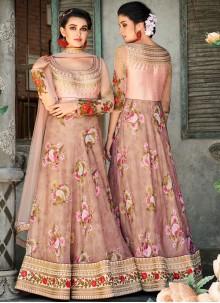 Pink Patch Border Organza Lehenga Choli