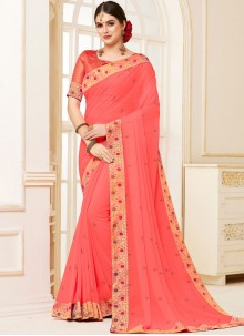 Pink Patch Border Traditional Saree