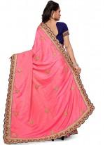 Pink Patch Border Work Art Silk Traditional Designer Saree