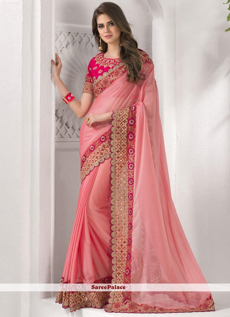 Pink Patch Border Work Chiffon Satin Classic Saree