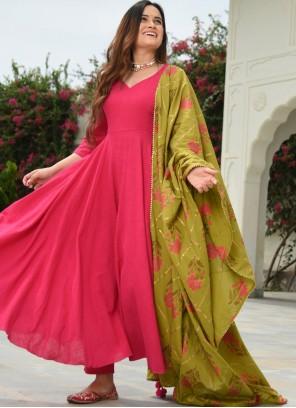 Pink Plain Ceremonial Salwar Suit