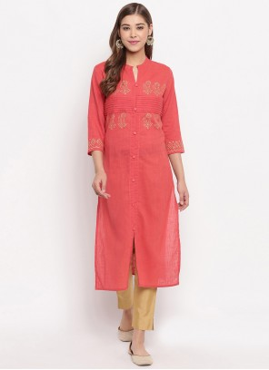 Pink Plain Cotton Designer Kurti