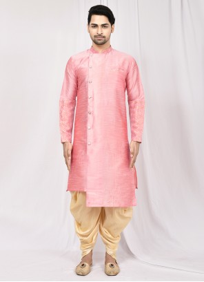 Pink Plain Engagement Dhoti Kurta