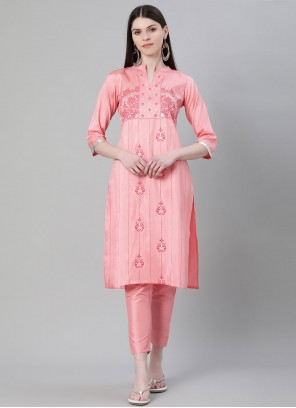 Pink Poly Silk Party Wear Kurti