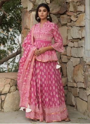 Pink Print Cotton Lehenga Choli
