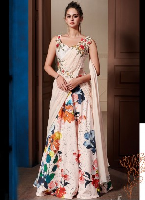 Pink Print Fancy Fabric Designer Gown