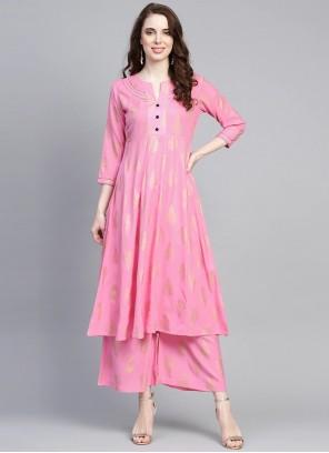 Pink Print Designer Kurti