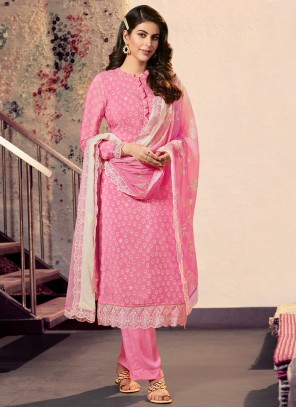 Pink Print Designer Straight Suit