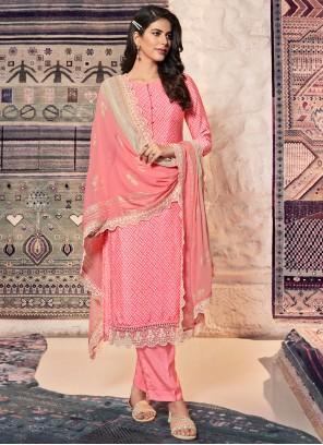 Pink Print Faux Crepe Designer Straight Suit