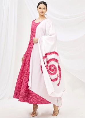 Pink Print Muslin Party Wear Kurti