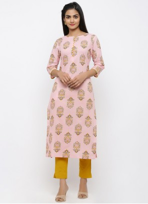 Pink Print Rayon Salwar Kameez